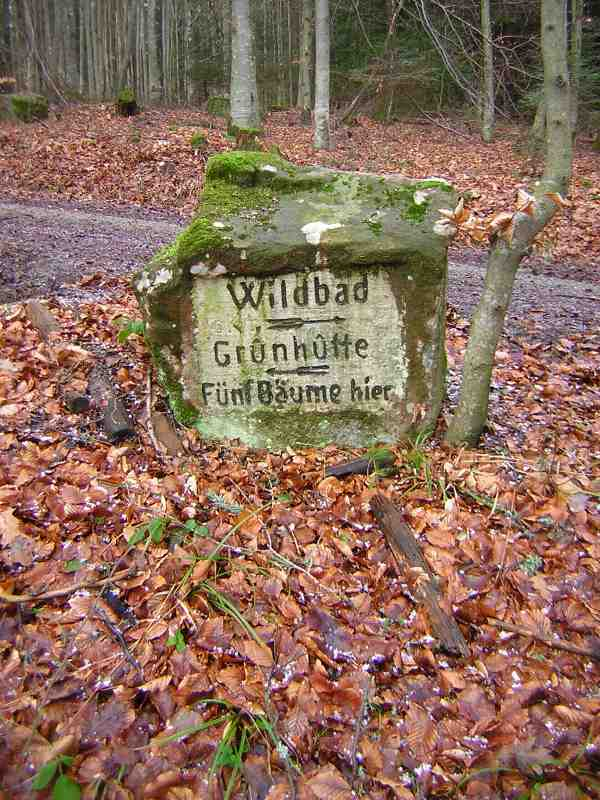 Old stone sign on the Sommerberg to Wildsee walk