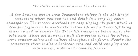A few hundred meters from Sommerberg village is the Ski Hutte restaurant where you can eat and drink in a cosy log cabin type atmosphere. The terrace overlooks an easy sloping ski piste which is ideal for beginners. In winter the button lift and a T-bar lift bring skiers up and in summer the T-bar lift transports bikers up to the bike park. There are numerous well sign-posted routes for bikers, cross-country skiers and walkers throughout the forest. Nearby the restaurant there is also a barbecue area and childrens play area with swings, slides and climbing frames.